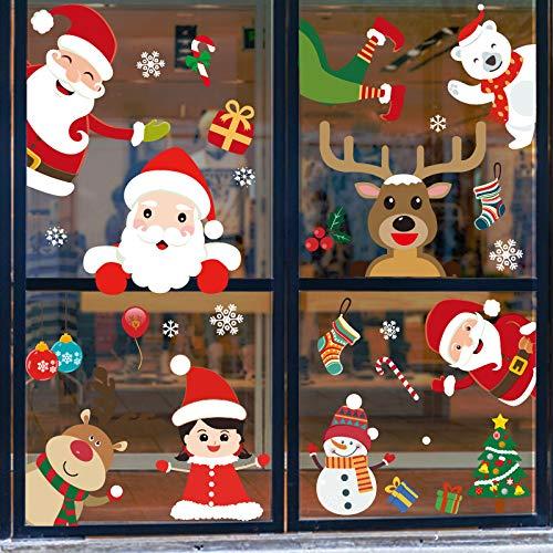 JXMN Adesivi Natalizi Decorazioni Centro Commerciale vetrofanie in Vetro Layout di Scena Adesivi elettrostatici in PVC Adesivi murali Fiori per finestre 60x90cm