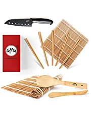 AYA Sushi Set - Originele bamboe kit met sushi koksmes - online video tutorials - 2 rolmatten - lepel & spatel - 5 paar eetstokjes - 100% natuurlijke premium bamboematten