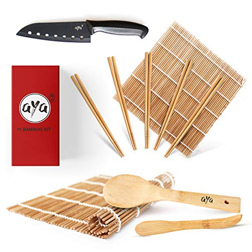 Sushi Making Kit - Original AYA Bamboo Kit with Sushi Chef Knife - Online Video Tutorials - 2 Rolling Mats - Paddle & Spreader - 5 Pairs of Chopsticks