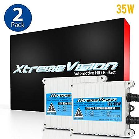 XtremeVision 55W AC Xenon HID Lights with Premium Slim AC Ballast 6K Light Blue 2 Year Warranty H7 6000K