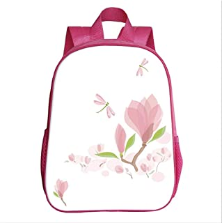 Dragonfly Kindergarten Shoulder Bag,Magnolia Branches and Leaves in Soft Tones Romance in Spring Concept Decorative for Child,9.4''Lx4.7''Wx11.8''H