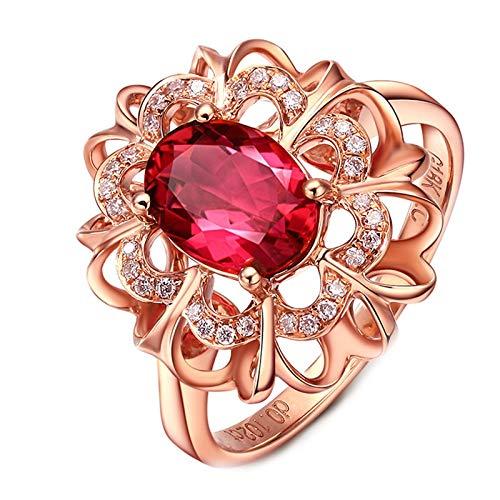 ANAZOZ Echtschmuck Ring Damen 18 Karat 750 Gold Hohle Blume 1.3Ct Turmalin Rot Eheringe Trauringe Hochzeitsringe Brilliant Solitär-Ring Diamantring Schmuck für Frauen Größe:57 (18.1)