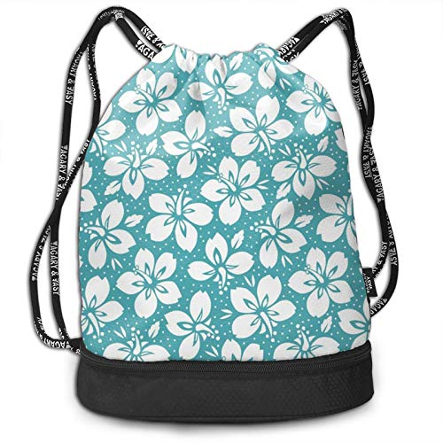 Drawstring Bag Backpack Sackpack Lightweight Cinch Bags for Christmas Halloween, Daypack for Hiking Yoga Gym Travel Beach Swimming, Beautiful Green Hibiscus