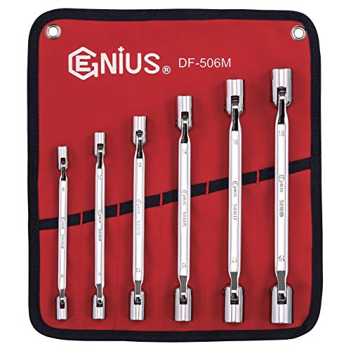 Genius Tools 6 Piece Metric Double Flexible Socket Wrench Set (Mirror Finish) DF-506M