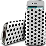 WHITE POLKA DOT PREMIUM PU LEATHER PULL FLIP TAB CASE COVER