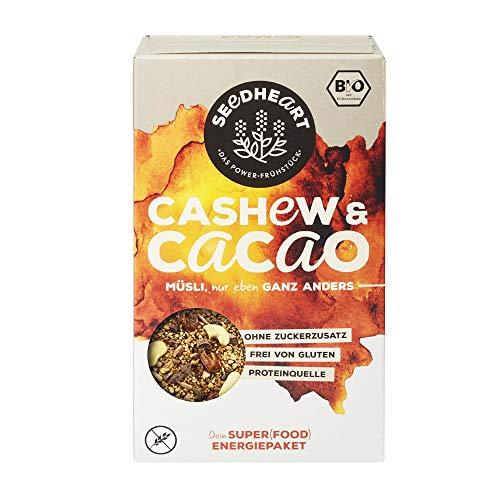 Seedheart Cashew & Kakao 275gr Bio Saaten-Kerne-Müsli Kakaonibs Cashew Quinoa | Glutenfrei | Kein Getreide | Ohne Zucker | Superfood