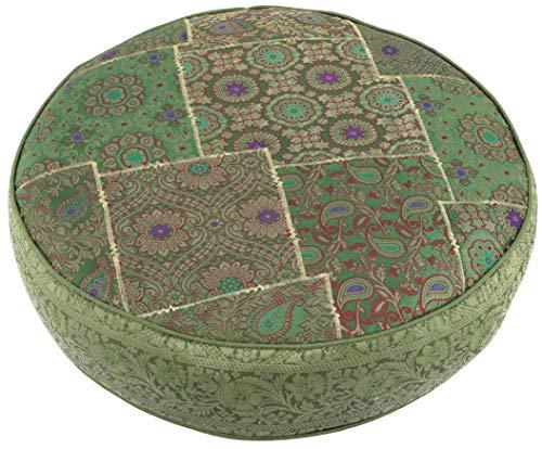 Guru-Shop Orientalisches Rundes Patchwork Kissen 50 cm, Sitzkissen, Bodenkissen mit Baumwollfüllung - Grün, Synthetisch, Zierkissen, Dekokissen, Sofakissen