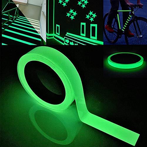 FULARR 10m X 2cm Premium Pegatina de Cinta Luminosa, Glow in The Dark Tape, Cinta Adhesiva de Seguridad Autoadhesiva Fluorescente, Extraíble Impermeable Durable Estable Seguridad –– Luz Verde