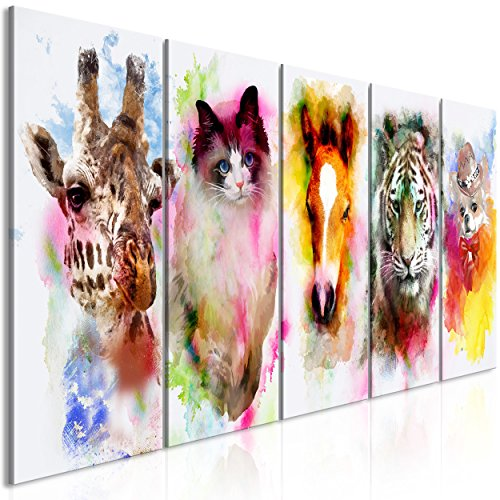 decomonkey Bilder Tiere Porträt 200x80 cm 5 Teilig Leinwandbilder Bild auf Leinwand Vlies Wandbild Kunstdruck Wanddeko Wand Wohnzimmer Wanddekoration Deko Aquarell Bunt Giraffe Katze Pferde Tiger Hund