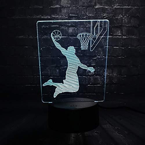Suhang Basketbal donker heren LED nachtlampje kantoor tafel decoratie lamp slaapkamer licht 7 kleuren jongens kinderen Kerstmis jongens Controller 7 Color