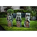 Winsome House See, Hear, Speak No Evil Set of 3 Garden Easter Island Solar Statues