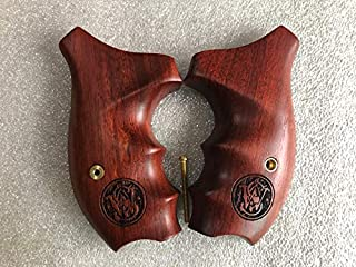 Cool Grip for Smith & Wesson K/LFrame Round Butt Revolver Grips with Logo (Padauk wood)-thai Handmade By Feelsogood