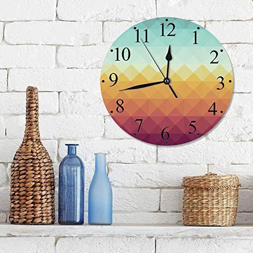 12 Zoll Wall Clock Modern Lautlos Wanduhr Indie, Mosaik inspiriert abstrakte Schachbrettmuster Pastell Retro Rhombus Fliese dekorativ, Türkis Ring,für Wohn- /Schlaf-Kinderzimmer Büro Cafe Restaurant