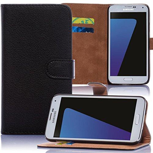 numerva Huawei Ascend P7 Hülle, Schutzhülle [Bookstyle Handytasche Standfunktion, Kartenfach] PU Leder Tasche für Huawei Ascend P7 Wallet Hülle [Schwarz]