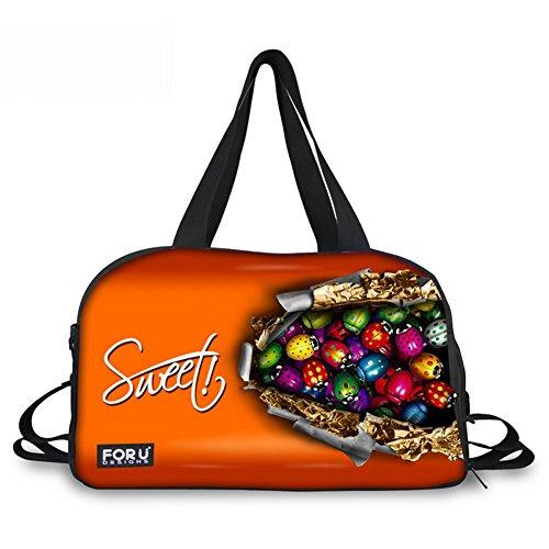 Orange Reisetasche Praline Handgepäck Sporttasche mit Schuhen und Trinkflaschen-Halter 45x29x21 Weekender Tasche Duffel Bag für Reise Wochenend mit der Großen Kapazität für Unisex C085 ONE Size