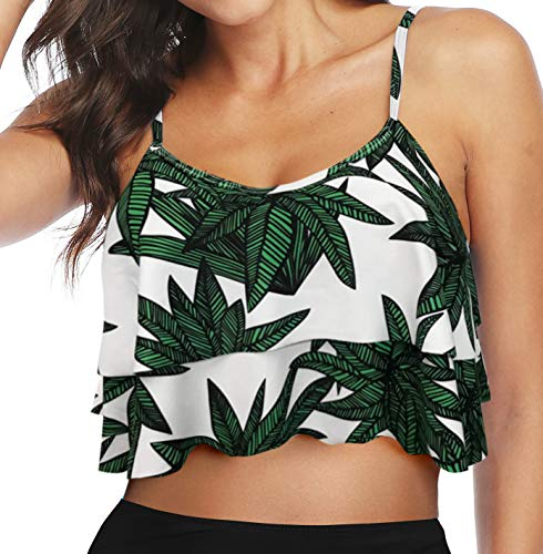 Gabrielle-Aug Women's Retro Falbala Soild Floral Flounce Bikini Top Chic Swimsuit(FBA) (6, Big Leaf)