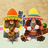 Set of 2 Fiesta Couple Gnome Cinco de Mayo Tomte for Mexican Taco Tuesday Elf Dwarf Gift Nisse Handmade Scandinavian Folklore Sombrero Household Ornaments Home Kitchen Farmhouse Decorations