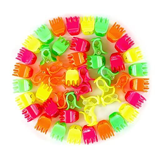 Em Beauty 24 Pezzi Mini Pinze per Capelli, Fermagli per Ragazze, Donne, Bambine, Mini Molette per Capelli in plastica