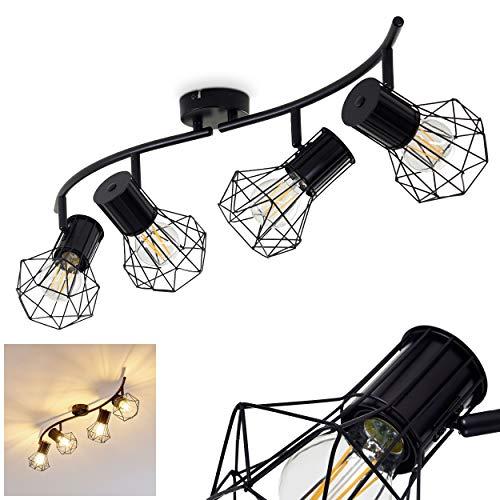 Deckenleuchte Bardhaman, Deckenlampe aus Metall in Schwarz, 4-flammig, 4 x E27-Fassung max. 40 Watt, Spot im Retro/Vintage Design in Gitter-Optik und Lichteffekt an der Decke, LED geeignet