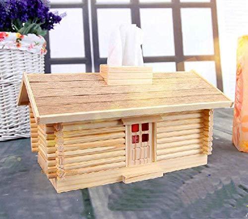 Pyrojewel Tejido caja de pañuelos titulares tejido de la caja de almacenamiento de bricolaje caja armada Montado tejido de madera Creative Box Log Cabin tejidos cajas decoración de la tabla Modelo sos