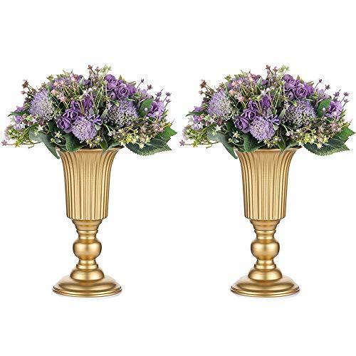 Nuptio 2 Stück Geblühte Metall Trompetenvase Elegante Vase mit Mittelstücken für Hochzeitsfeiern, 23.2cm Hoch, Künstliche Blumenarrangements für Die Jubiläumsfeier