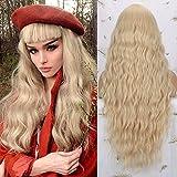 Pelucas rubia larga mujer con flequillo pelo natural largo ondulada, YEESHEDO peluca de pelo rubio largo suelto y rizada, wavy blonde wig para mujeres y niñas 28'