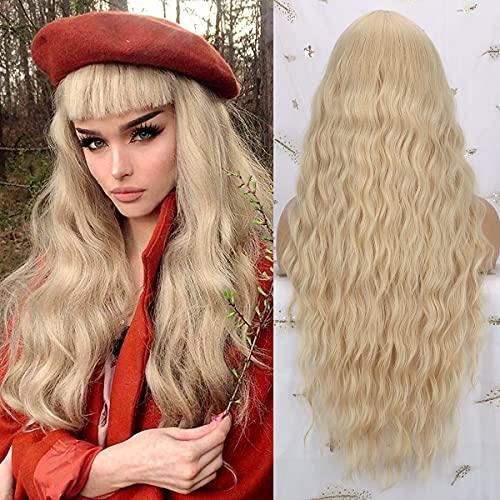 """Pelucas rubia larga mujer con flequillo pelo natural largo ondulada, YEESHEDO peluca de pelo rubio largo suelto y rizada, wavy blonde wig para mujeres y niñas 28"""""""