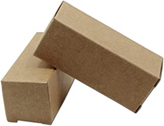 50 Pcs Rectangle Kraft Paper Essential Oil Bottle Boxes Personal Care Lip Balms Treatments Lipgloss Holder Case Makeup Storage Beauty Container (1.1x1.1x2.75 inch - 10ml Essential Oil Bottle, Brown)