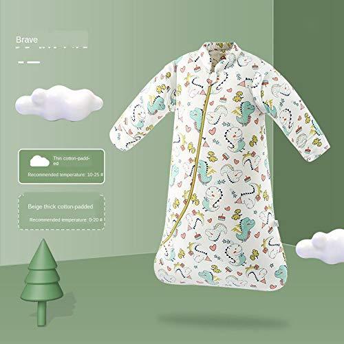 Junqin Invierno bebé Anti-Retroceso Colcha artefacto Bolsa de transición Pijamas de Coche para niños algodón Engrosamiento Saco de Dormir para bebé, Mangas Desmontables, Altura 66-95 cm-Blue||M