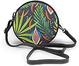 BAODANLA Bolso redondo mujer Tropical Fruits Women Soft Leather Round Shoulder Bag Zipper Circle Purses Sling Bag
