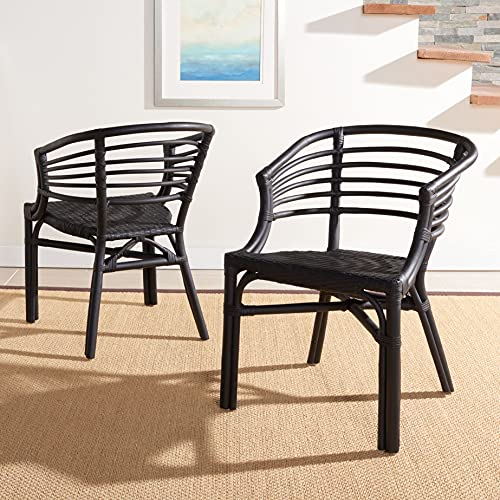 SAFAVIEH Home Collection Elmira Black Rattan Living Room Accent Dining Chair (Fully Assembled) DCH9901A-SET2