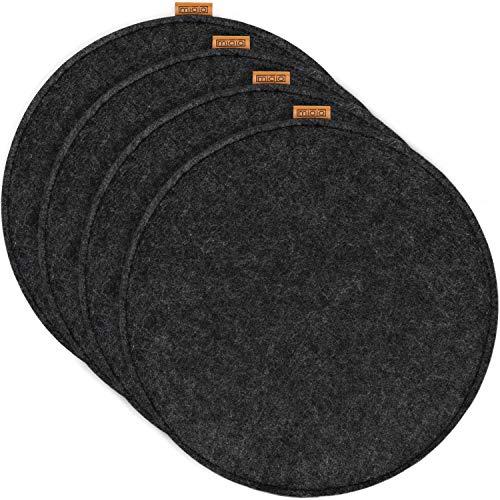 Miqio® Design Sitzkissen aus Filz mit Echtleder Elementen   rutschfest   rund   dunkelgrau 4er Set