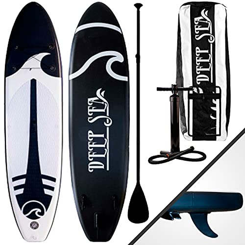 Deep Sea Tabla Paddle Surf Hinchable XXL 330 cm - Tabla Sup Paddle con Asiento, Bomba, Remo, Bolsa de Transporte y Kit de reparación, Material de dropstitch – 330x76x15 cm 0,8 Bar MAX 130 kg