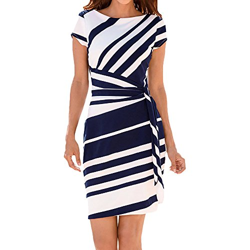 EINCcm Women's Casual Striped Print Wear to Work Office Career Sheath Dress Pencil Dress Bodycon Dress Summer Wrap Dress (Blue, XXXL)