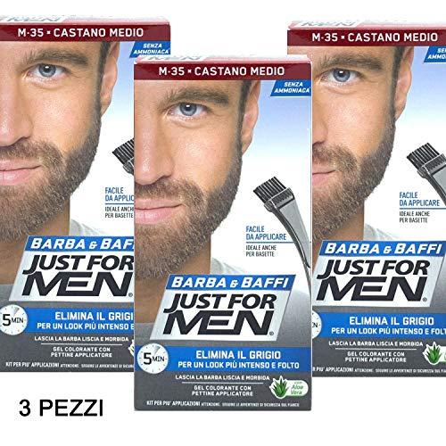 Just for Men - Lot de 3 colorations permanentes, teinture, gel colorant pour barbe et moustaches avec brosse, châtain moyen M-35 2X, 14 ml