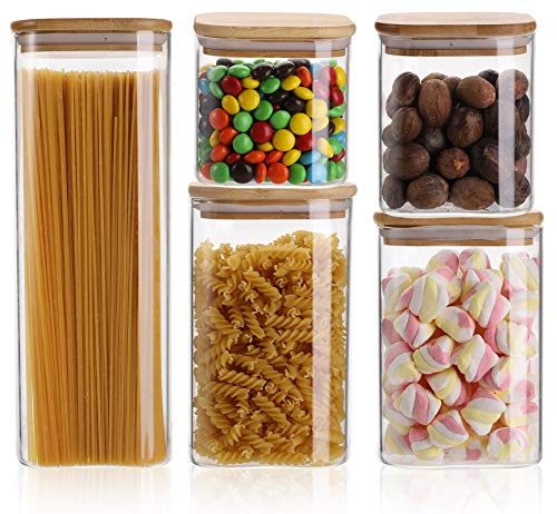 Yesland 5 Size Glass Storage Jars with Sealed Bamboo Lids, Air Tight Kitchen Food Storage and Jars Containers, Stackable Square Clear Glass Jar Set for Candy, Cookie, Rice, Sugar, Flour, Pasta, Nuts(76, 44, 38, 28, 23 Fl oz )