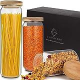 GLASWERK Design Vorratsdosen (1,5L / 1,1L / 0,75L) - Vorratsgläser aus Borosilikatglas mit Akazienholz Deckel - Vorratsdosen Glas für Spaghetti und andere Lebensmittel