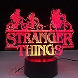 WENJZJ 3D Illusion Lamp LED Luz de Noche Luz de luz Stranger Things American Web TV Series 16 Dormitorio de Color Lámpara de Mesa para niños Los Mejores cumpleaños