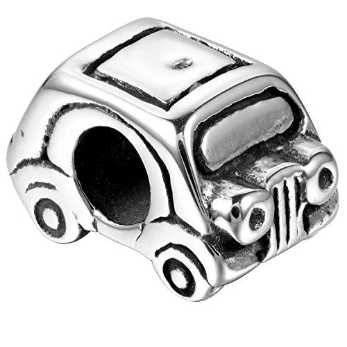 JewelryWe Schmuck Edelstahl Bead für Armbänder und Kette, Großlochperlen European Style Beads, Kleinwagen kompaktes Auto