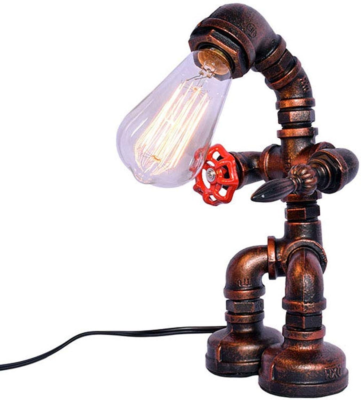 Vintage Industrial Iron Wasserpfeifen Tischlampe für Nachttisch (Robot Steampunk) mit rotem Ventilgriff und Schalter, antiker Rosteisen-Schreibtischakzentlicht