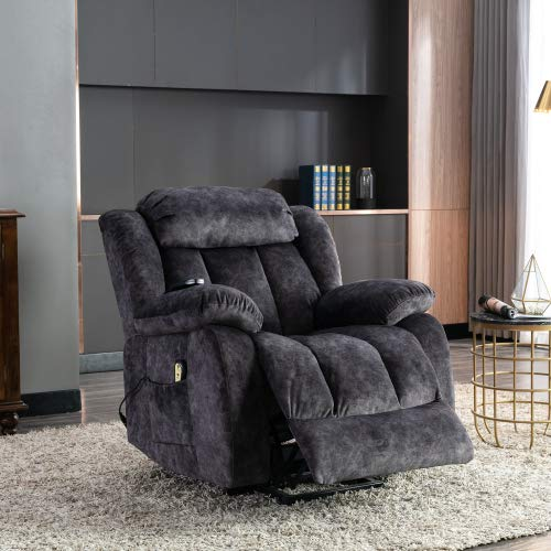 Power Lift Chair - Electric Massage Recliner Sofa with Heat & Vibration, Antiskid Fabric Massage Sofa Living Room Lift Chair with Side Pocket and Cup Holders for Elderly (Gray)