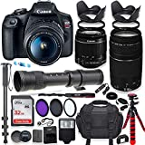 Canon EOS Rebel T7 DSLR Camera with 18-55mm is II Lens Bundle + Canon EF 75-300mm III Lens & 420-800mm Preset Telephoto Zoom Lens + 32GB Memory + Spider Tripod + Commander Optics Professional Bundle