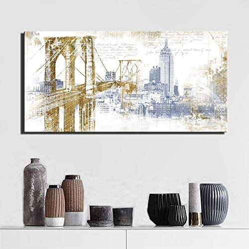 Wjwiang Abstract Bridge Picture Moderne City Landscape Poster And Living Room Wanddecoratie Kunstdruk Schilderij Kunstenaars Huisdecoratie Canvas zonder lijst 60x120cm unframed Pc3077