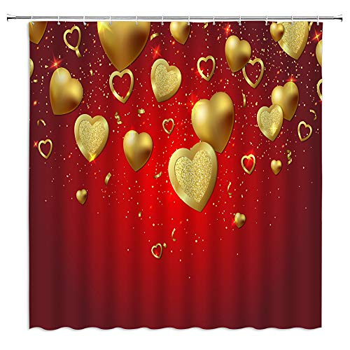 GCTNBJL Gold Heart Shower Curtain Valentine's Day Gold Heart Red Ombre Background Shiny Star Sweetheart Kiss Sign Girls Romantic for Couple Lover Modern Bathroom Fabric Decor Curtains with Hooks