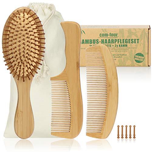 com-four® 3-teiliges Premium Haarpflegeset, Allzweck-Bürste und Zwei Stylingkämme aus Bambusholz, Bambus-Haarbürste und Frisierkamm für jeden Haartyp (3-teilig Kämme + Bürste)