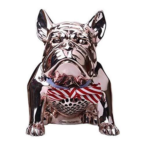 ZEIYUQI Bulldog Altavoz InaláMbrico Bluetooth Subwoofer para Perros,Mono 8W HiFi Calidad de Sonido Carga USB 5V,1A (Sin Pajarita) 8-10 Horas de Reproducción,Gold