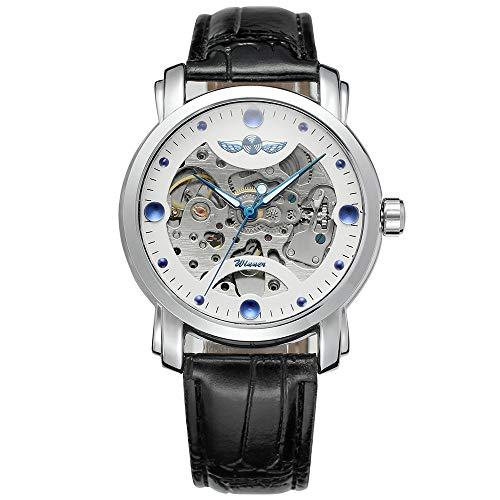 Zwbfu Ganador 005 Hombres de Negocios Reloj mecánico Reloj de Moda Moda Casual Correa de Cuero de Acero Inoxidable Pulsera 3ATM Reloj de Pulsera automático con Cuerda automática Impermeable