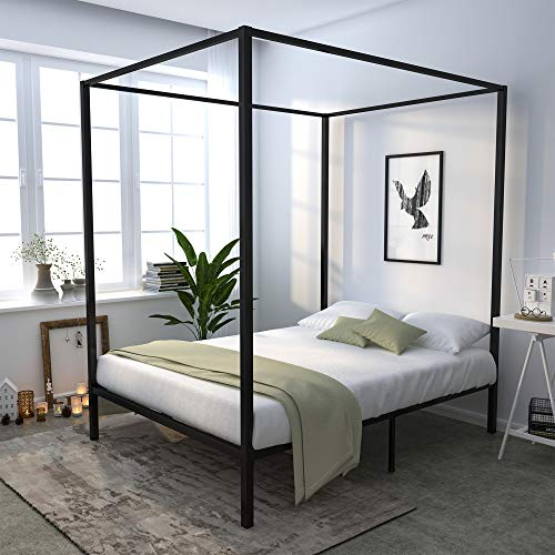 YITAHOME Metal Queen Size Canopy Bed Frame / 13 Inch Platform/Wood Slat Support/No Box Spring Needed