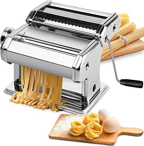 Manuelle Nudelmaschine, 7 stärkeverstellbare Nudelmaschinen aus Edelstahl mit Walzen aus Aluminiumlegierung und Cutter für hausgemachte Spaghetti-frische Teigherstellungswerkzeuge Rolling Press Kit