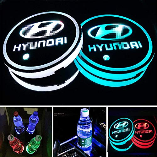Aswelly LED Car Cup Holder Lights, 2PCS Car Logo Cup Coaster with 7 Colors Changing USB Charging Mat, Luminescent Cup Pad Interior Atmosphere Lamp Cool Car Accessories